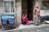 Soap-bubbles : Girls are  playing with soap-bubbles in Istanbul