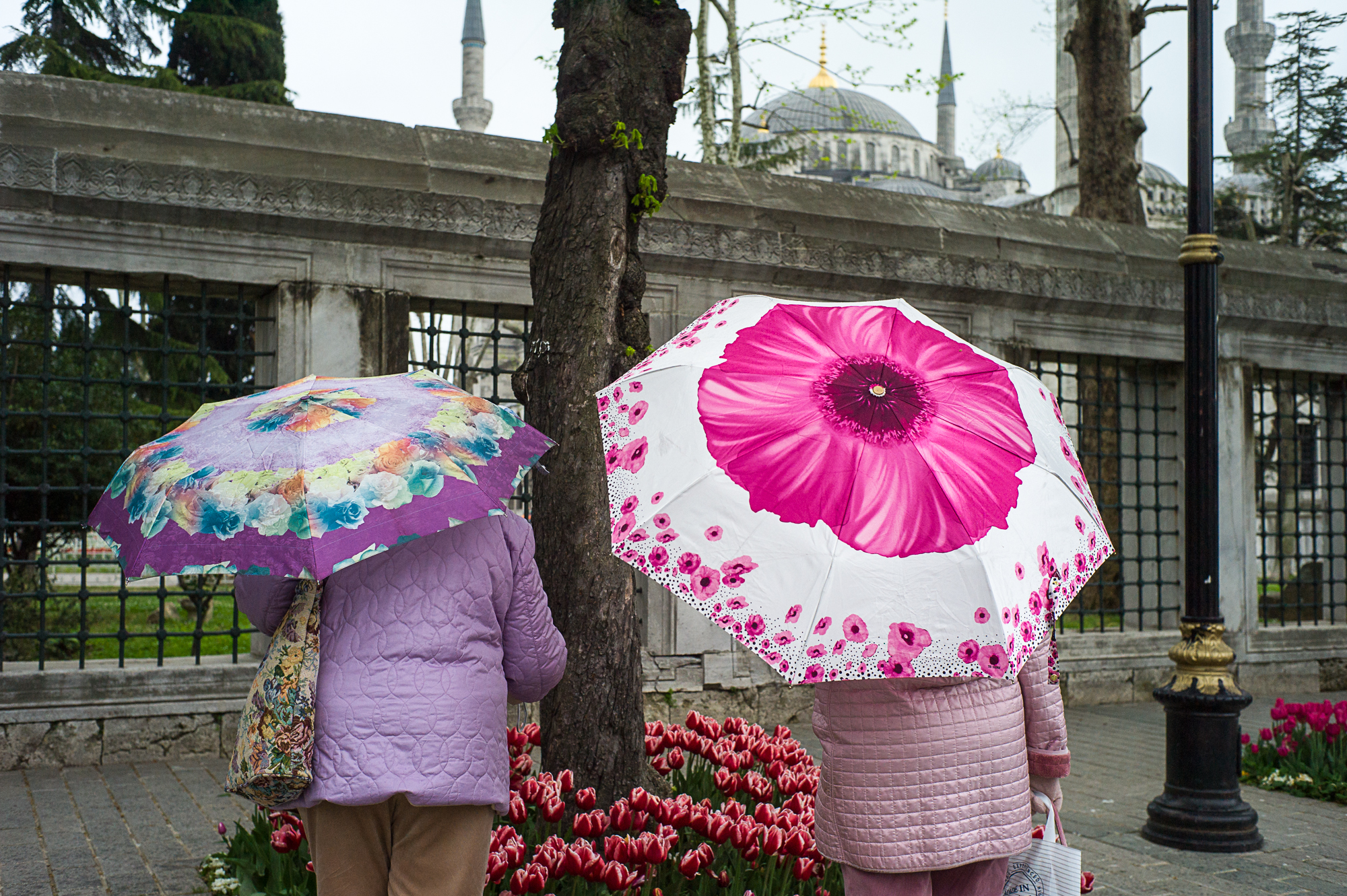 Umbrellas : Two women near Blue Mosque in Istanbul