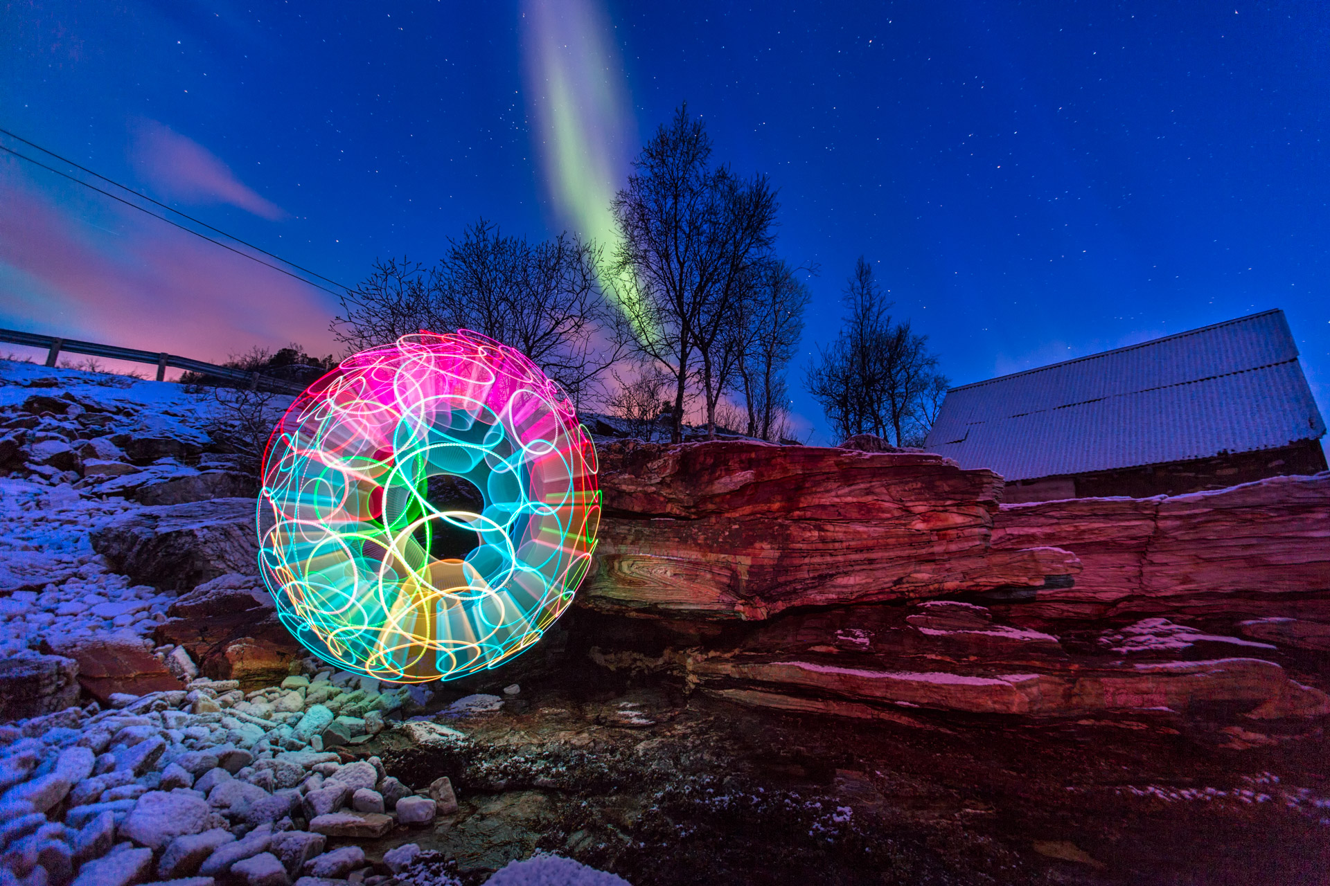 Swirly Aurora : Lightpainting combined with aurora lights in Norway