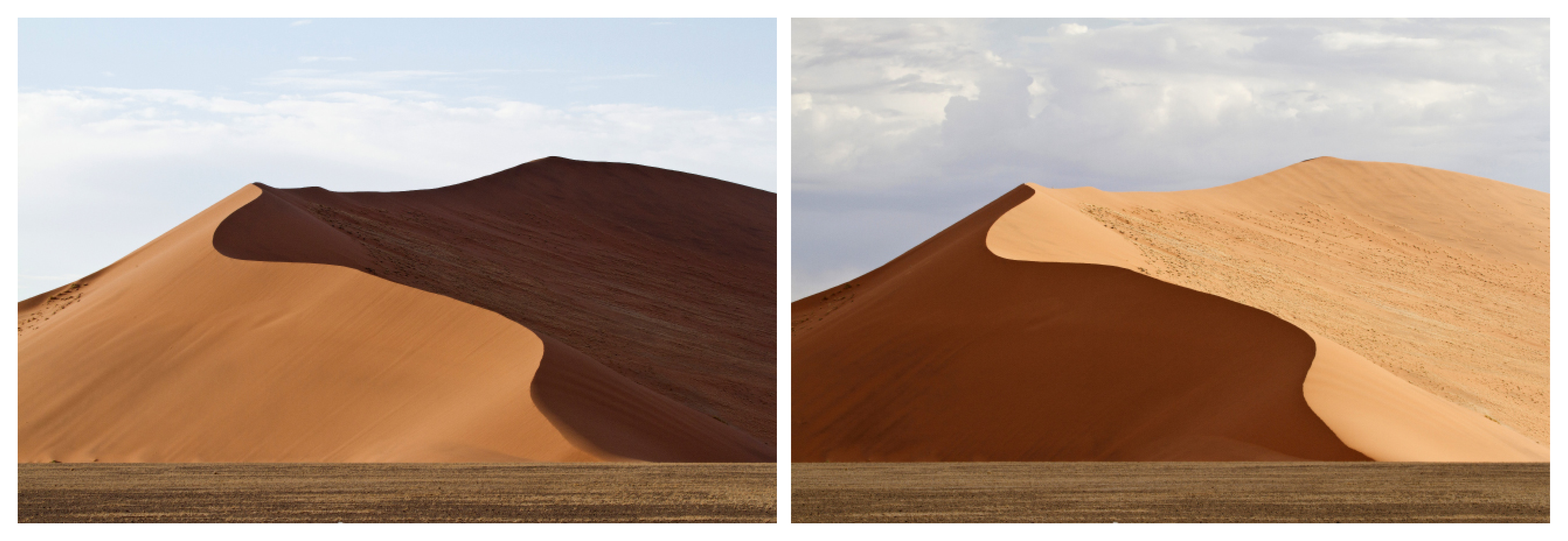 Different Sames : This diptych was made in the Namib Desert. In a very transparent manner it demonstrates changes of the same landscape depending on the side of the Sun.