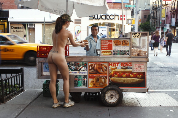Hot Dog Stand : Self-Portrait drawn from my series Nue York: Self-Portraits of a Bare Urban Citizen