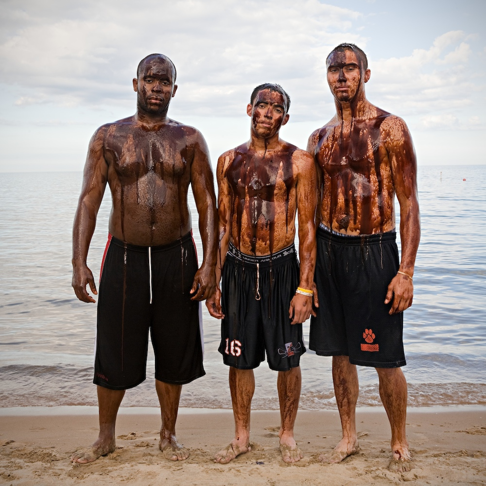 Three Friends : Crude Awakening ~  Living on the shores of Lake Michigan, I am acutely aware of the disastrous toll the oil spill in the Gulf of Mexico has taken on all forms of life, especially as our beaches opened to the 2010 swimming season. This environmental, social and economic catastrophe highlights a much larger problem that has inflicted untold suffering as we exploit the earth�s resources worldwide.  We are all responsible for leading lives that create demand for unsustainable energy. We are also all responsible for the solution and we must work together to protect the balance of life.