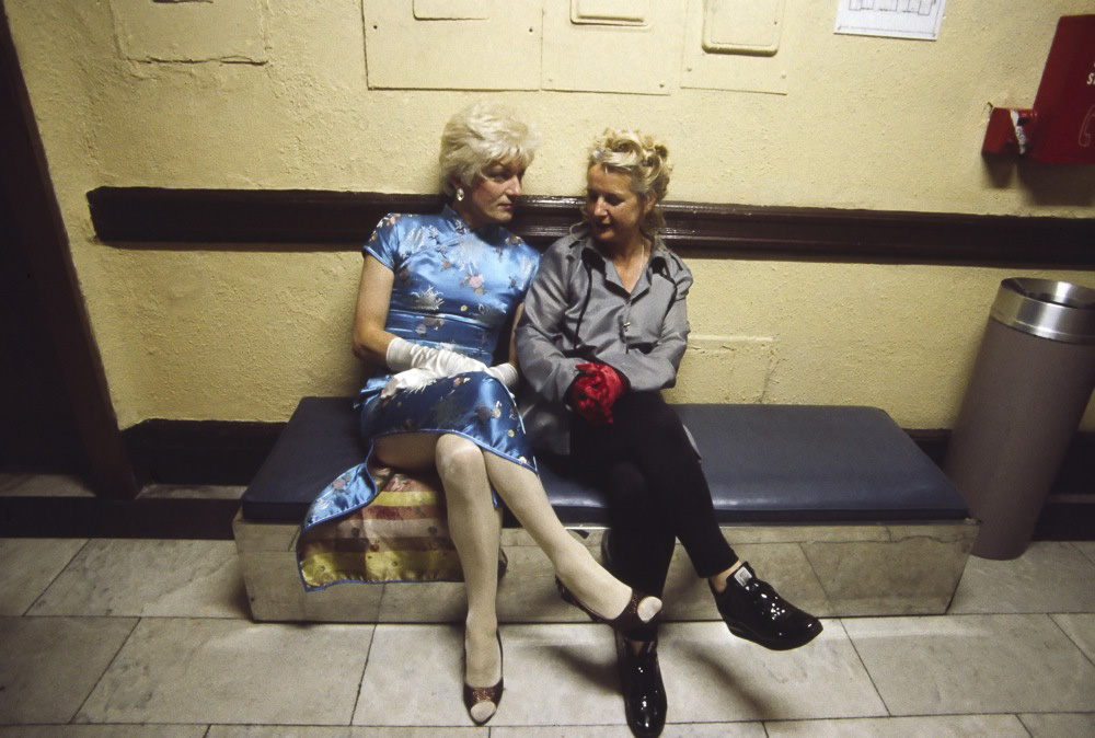Cross Dressing Couple, Chelsea Hotel, 1995 : When a new artist arrived at the hotel with a fresh dream, there was a constant sense of renewal. However, sometimes when you are in the elevator it would abruptly open at a wrong floor and just stay there…all concentration would be broken. The rumor is that British punker Sid Vicious 's ghost is forcing the unexpected stops despite repeated repairs…we'll never know if he killed his girlfriend, Nancy, But over the years many people checked out his Room100, so that Stanley combined his room with another.