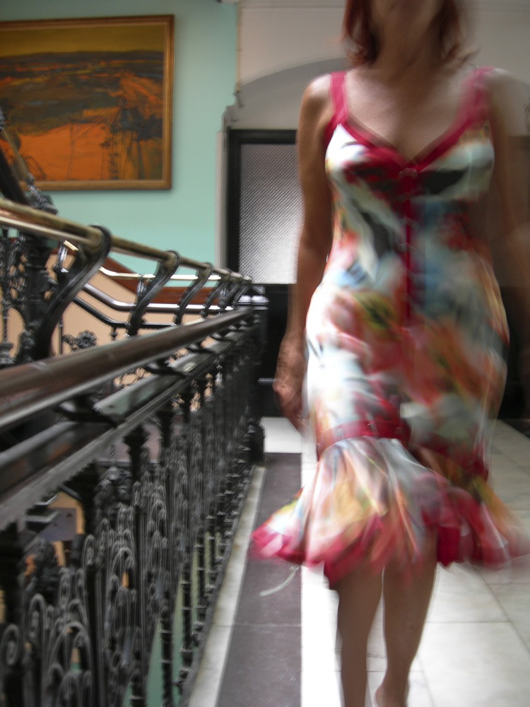 Self-Portrait, Zac Posen Dress, Chelsea Hotel,  2005 : Such influences and the skylight over the famous staircase inspired me to make an image wearing a Zach Posen dress. Zac was absorbed by Bohemia, like myself. He hung out there as a teenager.