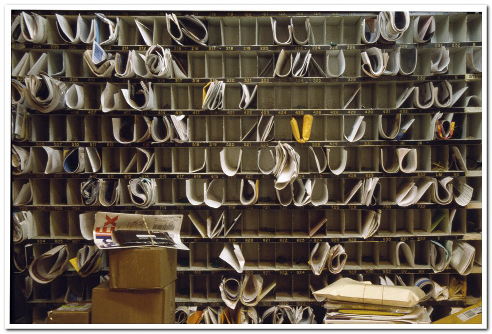 Mail Boxes, Chelsea Hotel, 1999  : Getting the mail from  behind the front desk was a social meeting place. Since 2010 it was removed from view.