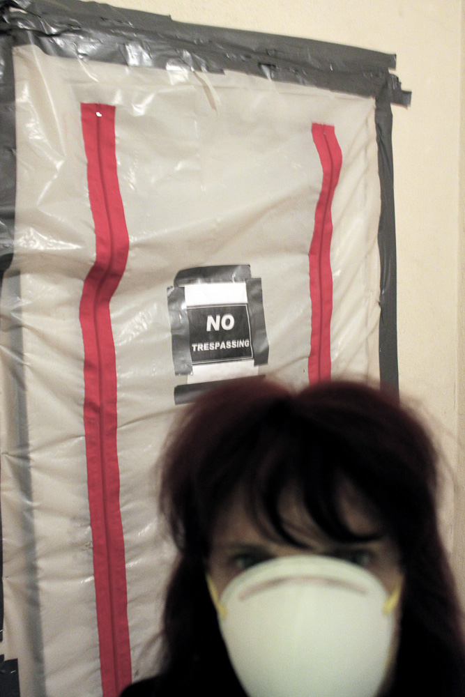 Self-Portrait, Room 914, Chelsea Hotel, 2012 : Loss of heat,  gas let to a Stop Work order from Christine Quinn, City Council  create an tough atmosphere to make our art in.