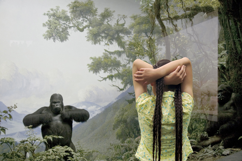 04_ReImagining Eden_Mountain Gorilla Diorama : mountain gorilla diorama with girl pretending to play within a diorama of a disappearing  or endangered environment/habitat or animal. Her connection to nature is less about identity as the nature becomes artificial